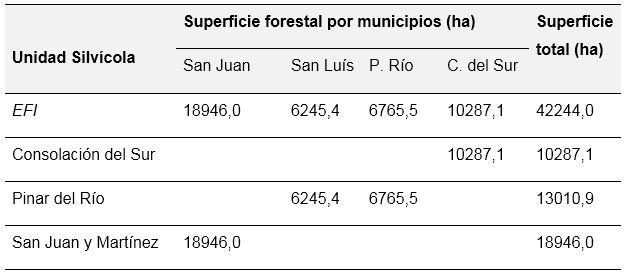 Distribución de la superficie forestal (ha) por Unidades Silvícolas